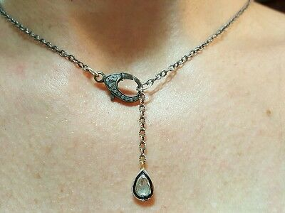 925 silver necklace pendant .5ctw Pave and rose cut polki diamond charm lariat