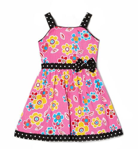 NUOVA Ragazza Rosa Abito Floreale Girly Pois brillanti colorati fiore Daisy