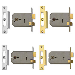 Details about Horizontal Mortice Door Lock Union 2077 3 Lever Sashlock  Brass Satin 127mm 152mm