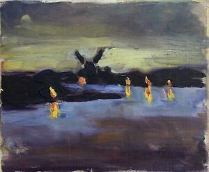 Small-Study-night-mood-with-Windmill-on-the-sea-Painting-Sketch-24-x-29-cm