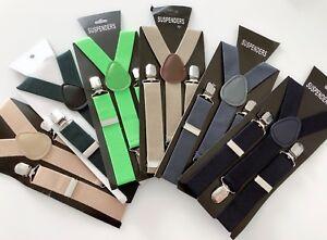 Boy-Kid-Children-Party-Wedding-Formal-Function-basic-color-Suspender-Brace-Belt