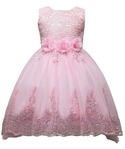Toddler Baby Kid Sequins Butterfly Bow Trailing Flower Girl Dress for Wedding