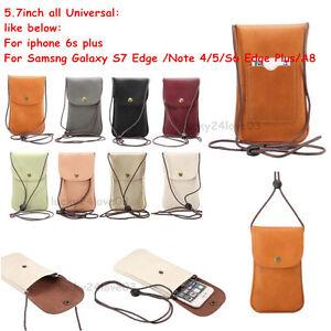 5-7-034-Leather-Handbag-Shoulder-Bag-Strap-Neck-Wallet-Pouch-For-iphone-X-Samsung