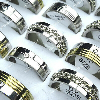 10pcs Mix Stainless Steel Rhinestone Chain Fashion Rings Wholesale Jewelry Lots
