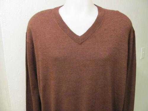 NEW XT XLT XL TALL TURNBURY 100/% Merino Wool V-Neck Sweater Solid BROWN $70