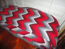 CUSTOM AFGHAN CROCHETED RED PEWTER GRAY KNIT ZIG ZAG TWIN THROW BLANKET 64 X 89