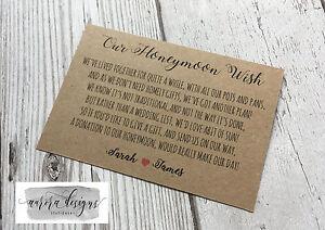 Détails Sur Personnalisé Mariage Argent Poème Carte Lune De Miel Cadeau Demande Kraft Shabby Chic A7 Afficher Le Titre Dorigine