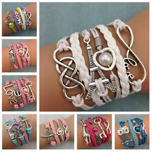 NEW-Jewelry-Women-s-Fashion-Leather-Cute-Infinity-Charm-Bracelet-Accessories-Hot