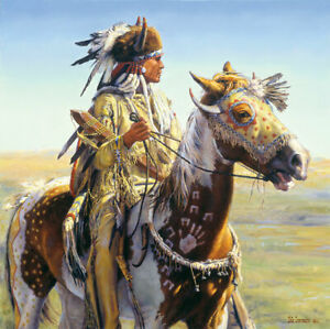 Bob CORONATO Limited Edition Canvas Native Indian Warrior Today we will look