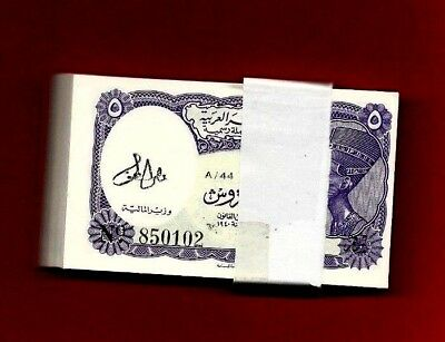 Egypt 100 Bill /5 Piaster Sing By Ali Luttfei One Bundle Sophisticated Technologies Coins & Paper Money Paper Money: World