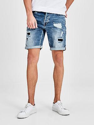 JACK & JONE S RICK ORIGINAL Rips and Repairs Mid Wash Denim Shorts Blue Size S