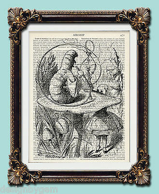 Alice In Wonderland Croquet Flamingo retro upcycled art print 1920/'s 10x8