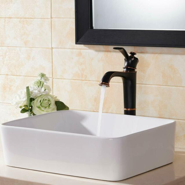 Above Counter Ceramic Rectangular Vessel Bathroom Sink With Faucet And Overflow For Sale Online Ebay
