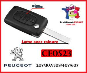 Coque Clé  Plip Boitier CE0523  Peugeot 207 307 308 407 607 807 3 boutons