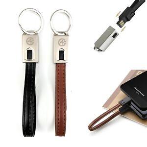 Leder-Schluesselanhaenger-Ladekabel-schwarz-USB-Typ-C-kurz-Android-Samsung-S9-LG