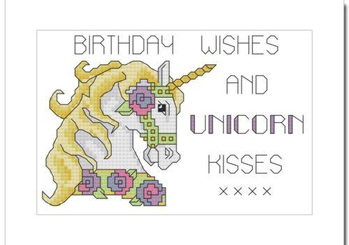 """20.2 cm x 15 cm Joyeux Anniversaire-Licorne Kisses-Cross Stitch Carte Kit 8/"""" x 6/"""""""