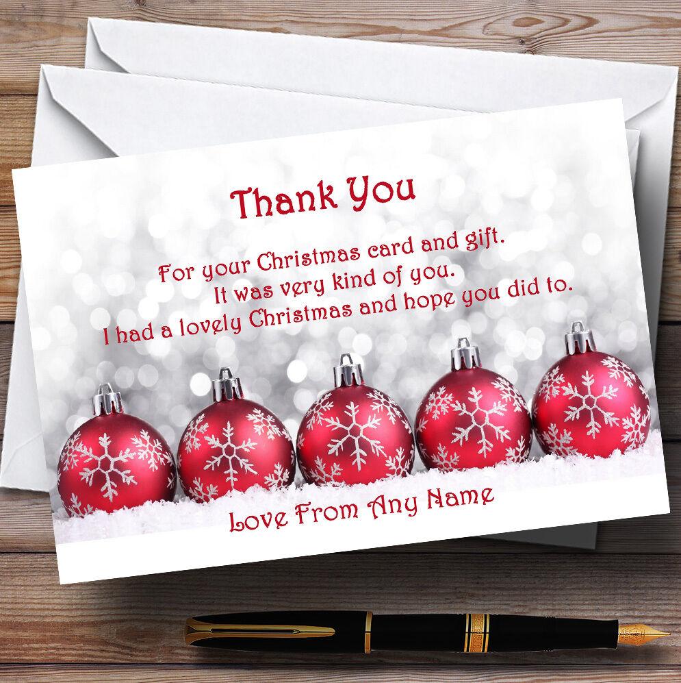 Rojo Adornos Personalizados Fiesta De Navidad Tarjetas De Agradecimiento