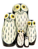 Barn Owls 5-piece Russian Nesting Doll Wooden Babushka Stacking Dolls By Greatru
