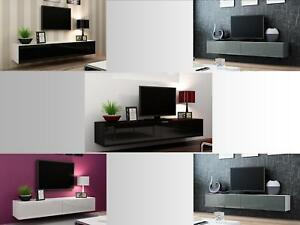 Wall Mounted Tv Cabinet Entertainment Unit High Gloss 140cm Or 180cm Floating Ebay