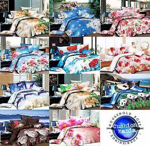 Duvet cover set 3D Quilt cover set 3 Pcs Bedding Animal Floral Rose Microfibre