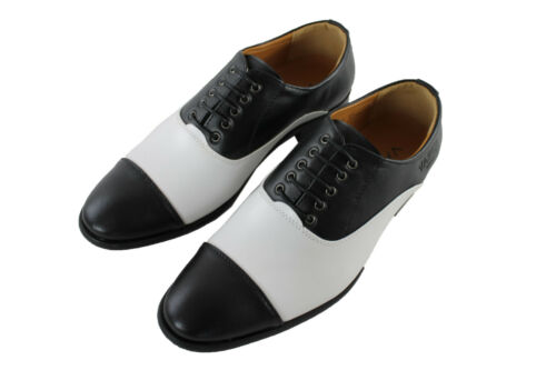 1920s 1930s GANGSTER PIMP THEME MENS BLACK AND WHITE BROGUE GATSBY SHOES
