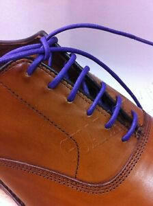Waxed Cotton Dress Shoelaces Round Oxford Shoe Laces Strings ONE PAIR PURPLE