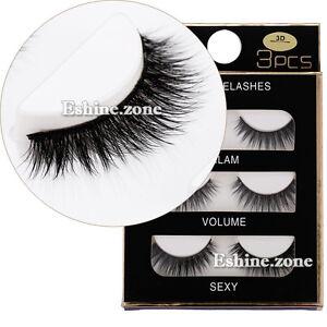 3D-Black-Thick-Cross-False-Eyelashes-Makeup-3-Pairs-Long-Fake-Lashes-Extension