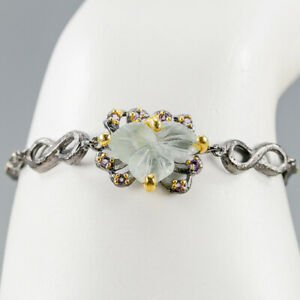Handmade8ct-Natural-Aquamarine-925-Sterling-Silver-Bracelet-Inches-7-BR03315