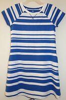 Lands' End Sail Blue Stripe Cotton Knit Dress Girl's Sz 10-12