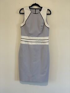 Cue Size 10 Blue White Block Shift Dress Midi Lined Workwear