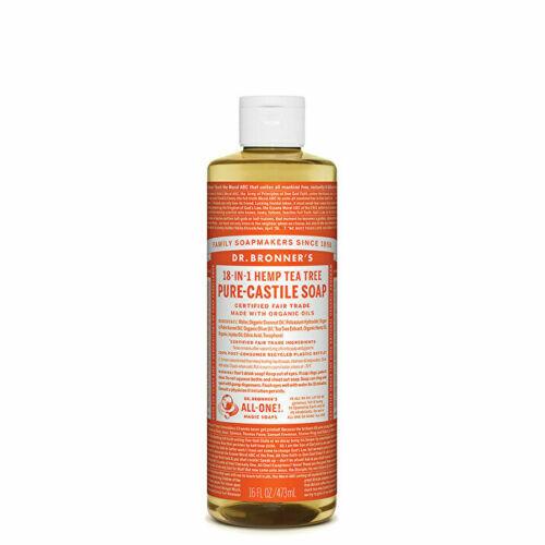 Dr Bronners Pure Castile Soap Liquid (Hemp 18-in-1) Tea Tree 473ml - vegan