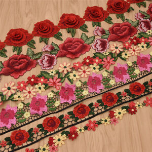 1-Yards-Colorful-Rose-Flowers-Polyester-Lace-Trim-Embroidered-Ribbon-For-Sewing