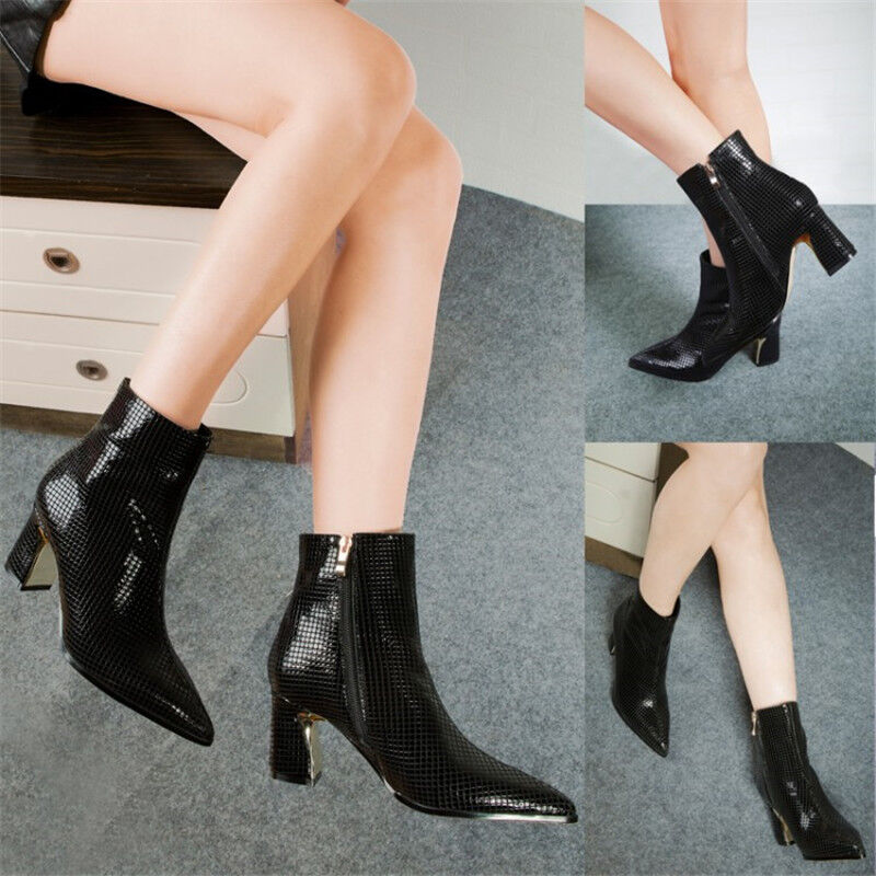 Women's Patent Leather Ankle Boots Pointed Toe Block Heels Prom shoes Side zip