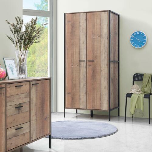 Stretton 2 Door Double Wardrobe Bedroom Furniture Rustic Industrial Oak Effect