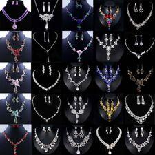 Fashion Crystal Pendant Bib Choker Chain Statement Necklace Earrings Jewelry Set
