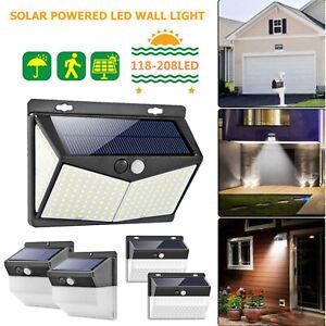 118-208LED-Energie-Solaire-Detecteur-de-Mouvement-Pir-Mur-Exterieur-Lampe-Jardin