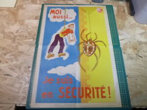 Affiche-Serigraphie-Prevention-Securite-accident-50-039-s-AINF-RARE-Araignee