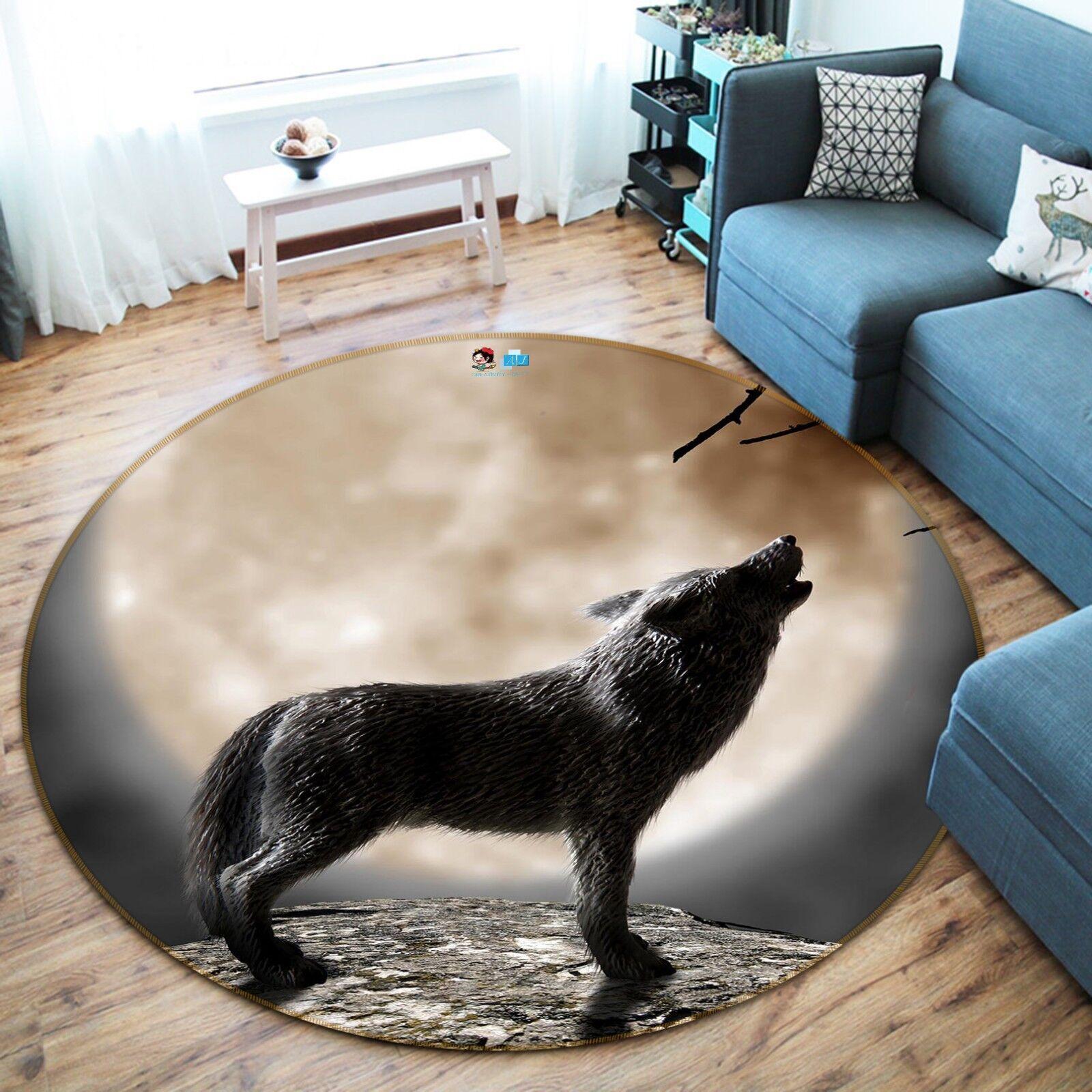3D Wolf Alfombra colchoneta de la Luna 04 Antideslizante Alfombra de Sala rojoondo elegante Alfombra Reino Unido Carly
