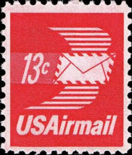 1973 13c Winged Envelope, Airmail Scott C79 Mint F/VF N