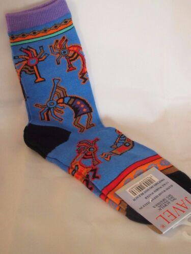 Womens Blue Kokopelli Purple Cuff Crew Socks Size 9-11 Fertility Deity
