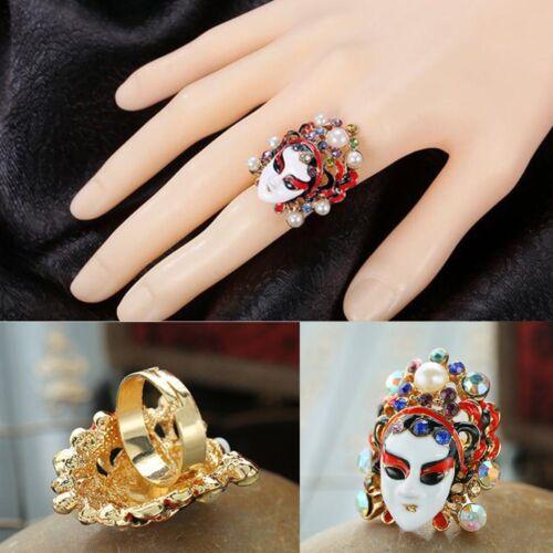 Enamel Jewelry Face Masks Ring Women Jewelry Finger Ring Crystal Rhinestone