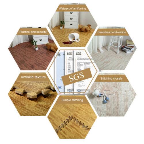 96SQ 60CM Wood Grain EVA Foam Floor Mats Gym Puzzle Interlocking Tile Mat,3Color