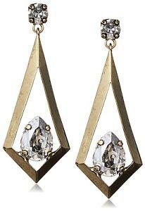 Tova-14mm-x-10mm-Swarovski-Clear-Crystal-Gold-Tone-Triangle-Kite-Drop-Earrings