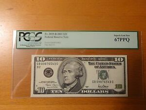 2001-10-Federal-Note-FRN-Fancy-Serial-Ladder-09876543-PCGS-67PPQ