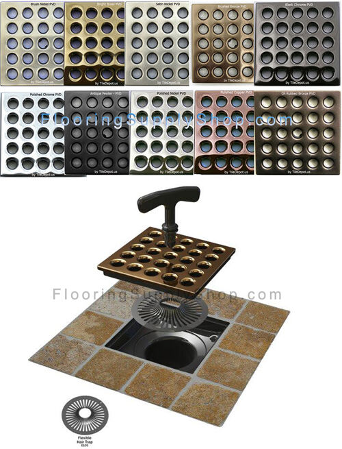 Ebbe Square Shower Drain Available In 10 Finishes Body and Grate