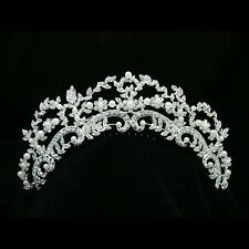 Bridal Floral Rhinestone Crystal Pearl Prom Wedding Tiara Hair Comb 7220