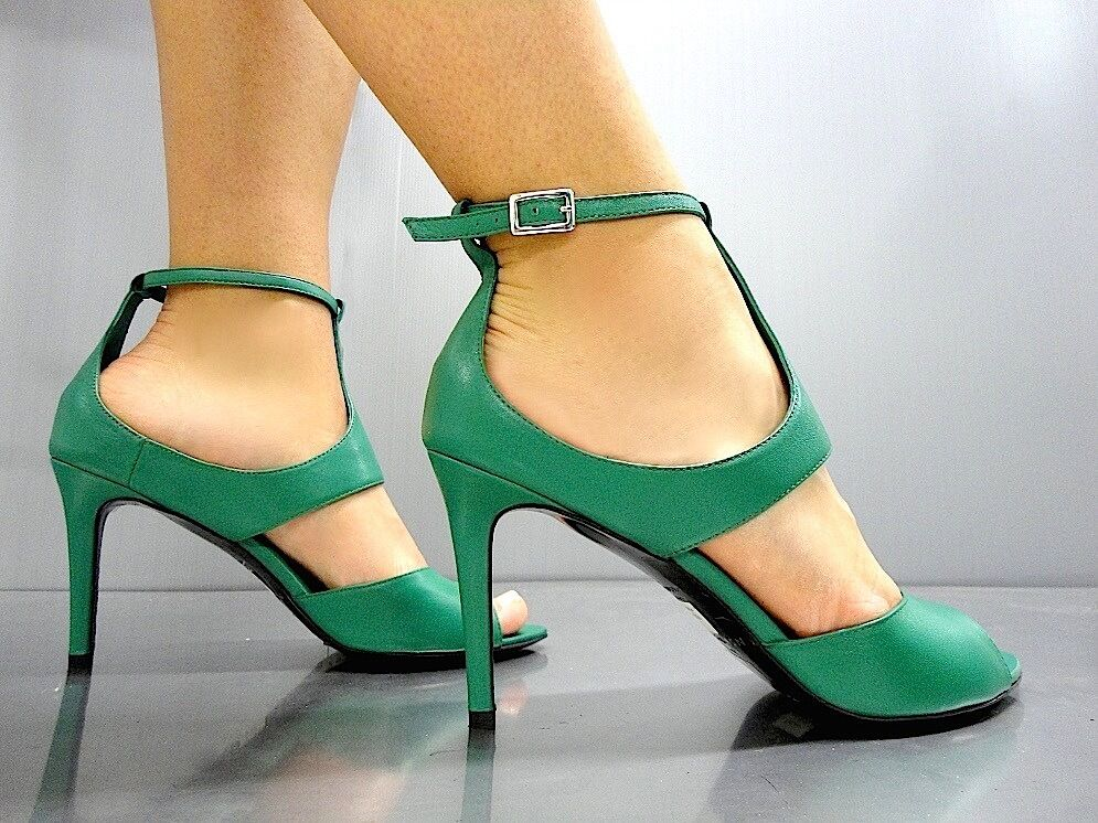 LK BENNETT negro RIBBON SANDALS LUXURY SANDALI SANDALEN LEATHER verde verde 40