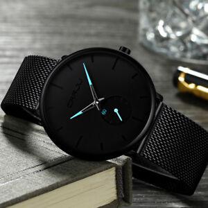 9e502146b Fashion Men's Watches Luxury Quartz Watch Slim Mesh Steel Waterproof ...