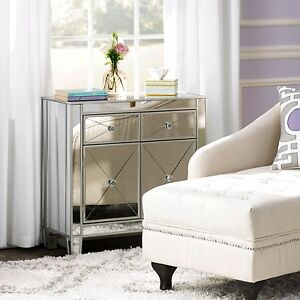 Mirrored storage cabinet drawers dresser chest end side table bedroom nightstand ebay for Mirrored side tables for bedroom