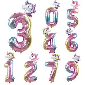 32-034-Rainbow-Unicorn-Nombre-Foil-Balloon-KIDS-Age-Anniversaire-Licorne-Party-Decor